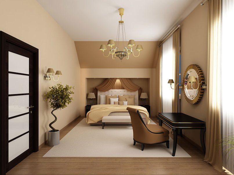 Например, в данном варианте постановка кровати вдоль уместна, так как свободного пространства остается довольно много.