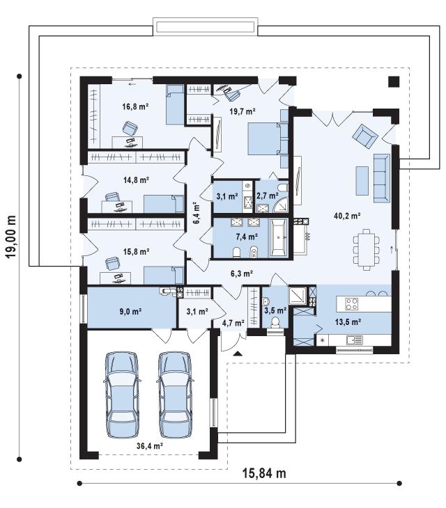 Одноэтажный дом с 4 спальнями – проект расположения помещений