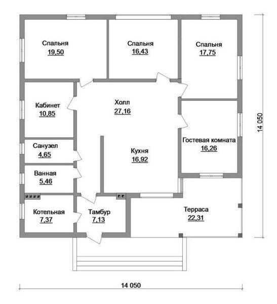 Одноэтажный дом цокольным этажом: 4 спальни, просторная кухня и холл подойдут и для большой семьи