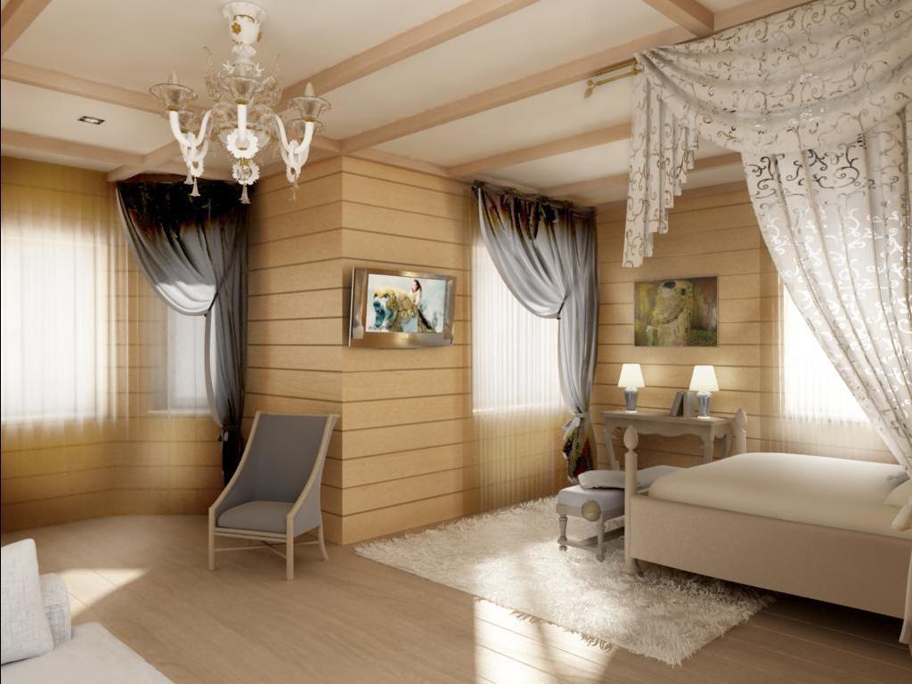 Окрашенный белый потолок из гипсокартона зрительно увеличит высоту спальни.