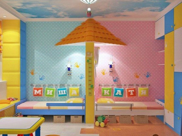 Оригинальная спальня для двоих разнополых детей – интересное оформление