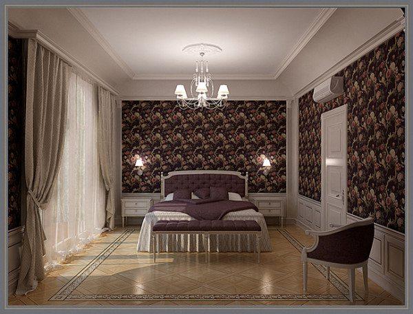 Оригинальное сочетание мебели и стен по отношению к полу придает помещению элегантный внешний вид в старинном стиле