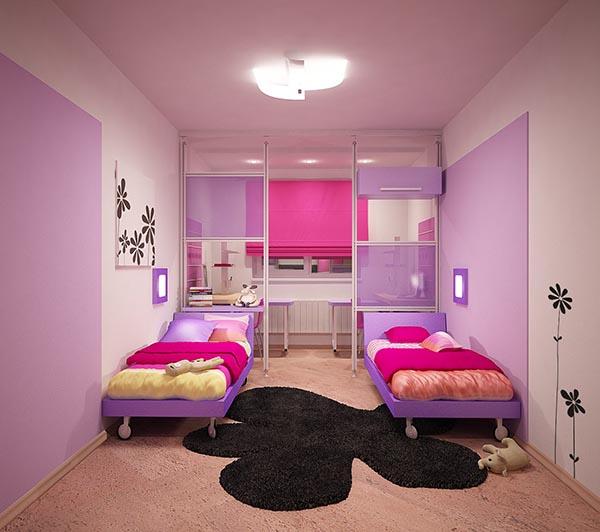 Оригинальный и яркий интерьер спальни для двух девочек.
