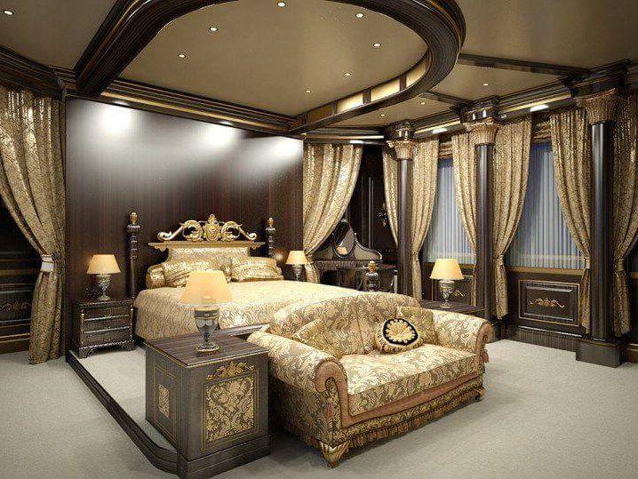 освещение спальни привлекательного дизайна в феодальном стиле