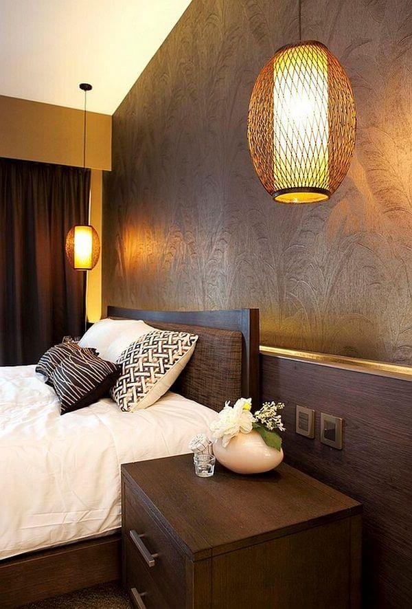 освещение в спальне в азиатском стиле