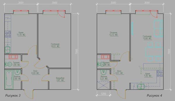 Перепланировка типовой однокомнатной квартиры в квартиру-студию с отдельной спальней.