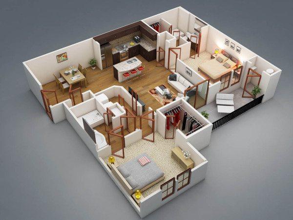 Планировка одноэтажного дома с двумя спальнями менее сложная, но тоже требует вдумчивого подхода