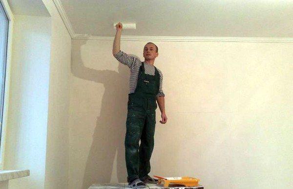 Побелка потолка в спальне