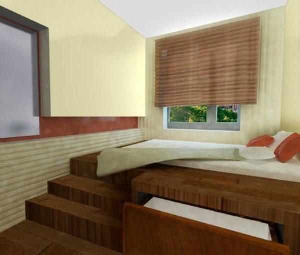 Поднимая кровать на подиум, мы не только визуально расширяем пространство, но и создаем дополнительную возможность для хранения вещей в выдвижных ящиках.