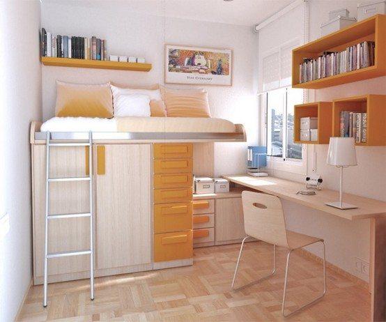 Подростки любят, когда их комнату оформляют нестандартно, например, используя двухъярусную мебель.