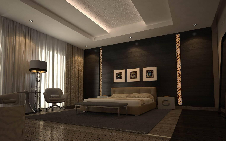 потайной свет на потолке из гкл в спальне