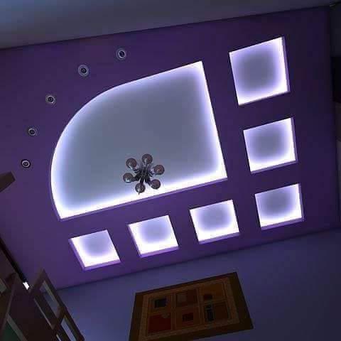 голубой потолок из гкл в спальне