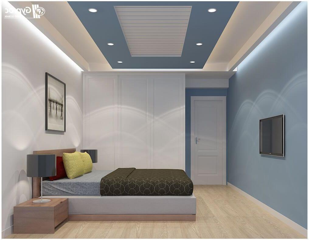 суперская прямоугольная фигура на потолке из гипсокартона в спальне