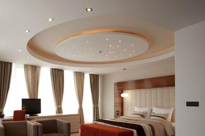 округлённый потолок из гкл в спальне