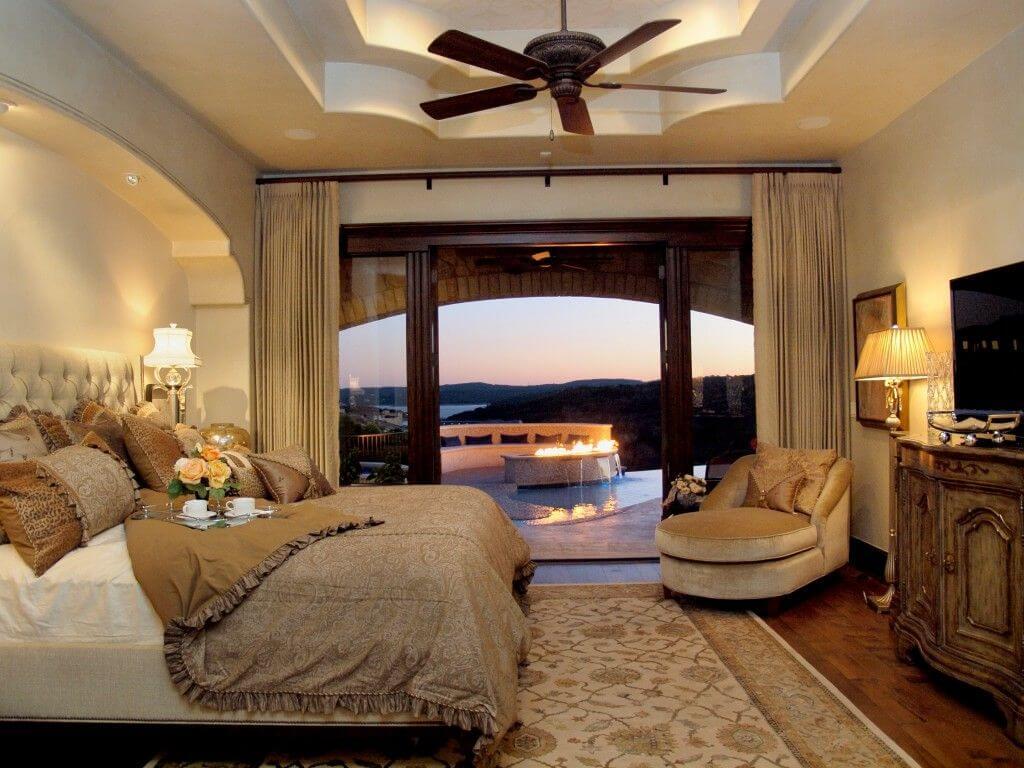 креативный потолок из гипсокартона в спальне