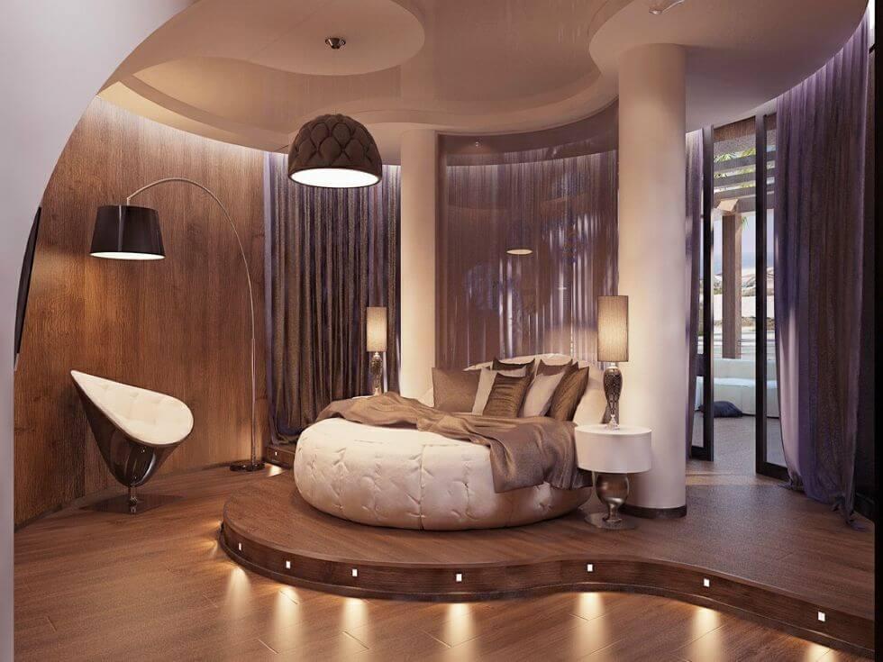 красивейшая спальня с красивым потолком