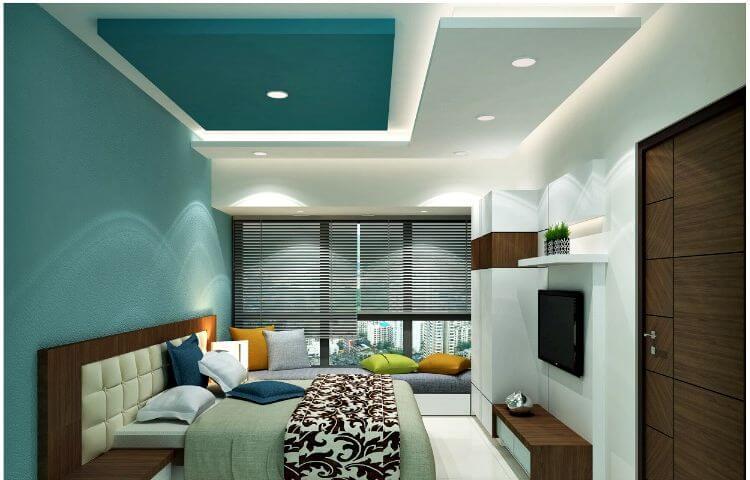 светлый потолок из гипсокартона в спальне