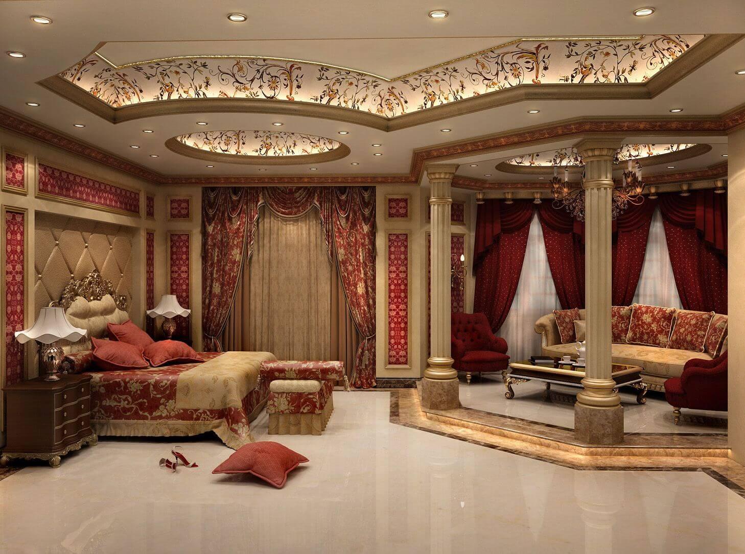 бесподобный потолок из гипсокартона в классической спальне