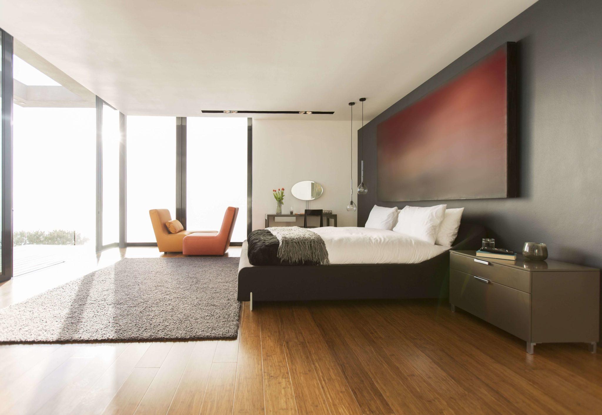 прямой потолок из гкл в спальной комнате