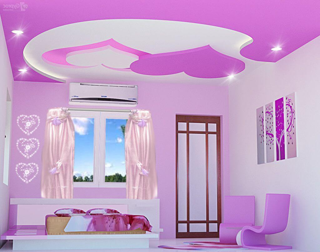 романтичный потолок в спальне виде сердечек