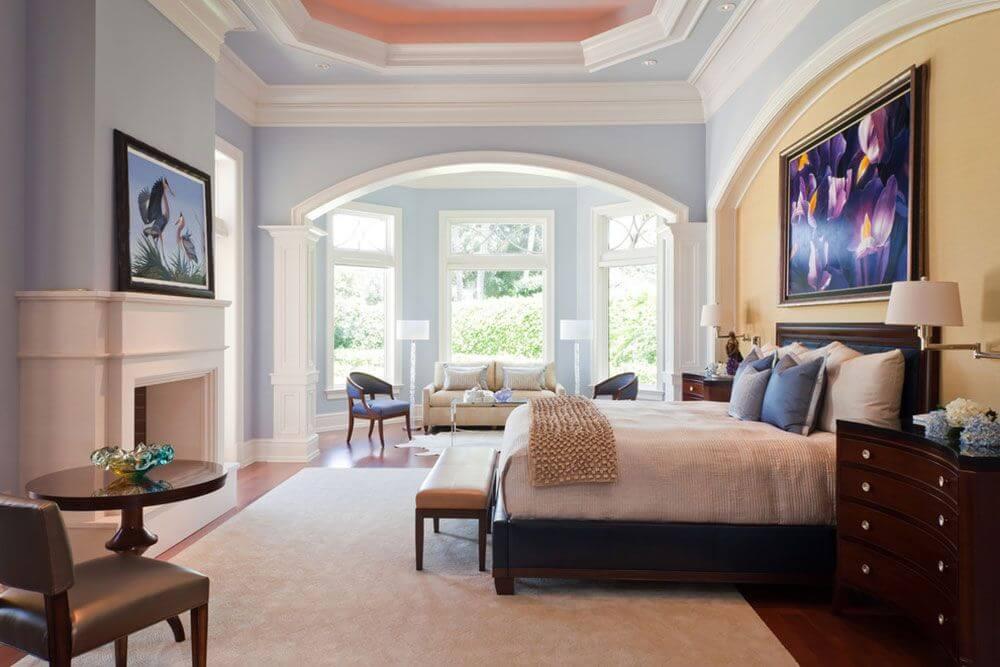 спальня в стиле прованс с гипсокартонным потолком