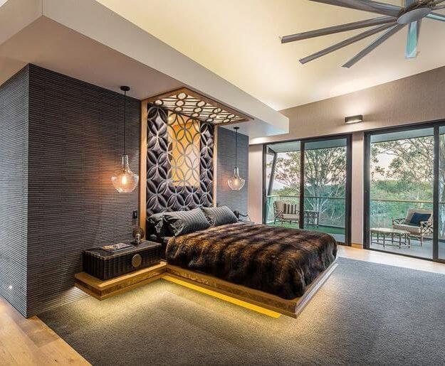 красивый узор на потолке из гкл в спальне