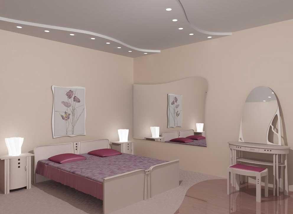 Потолок в вашей спальне можно сделать натяжным.
