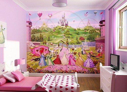 Прекрасно впишутся обои 3 д в спальню девочки, если на них будет изображен сюжет из любимого мультфильма.