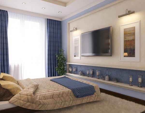 Пример использования плазменного телевизора в интерьере спальни