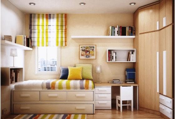 Пример обстановки небольшой спальни
