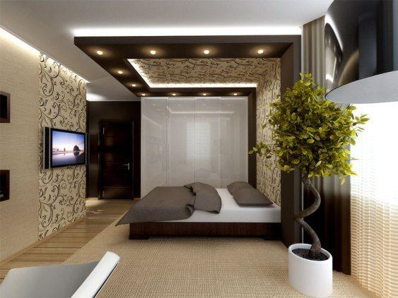 Пример оформления спальни на 15 кв. м, где использовался способ совмещения обоев.