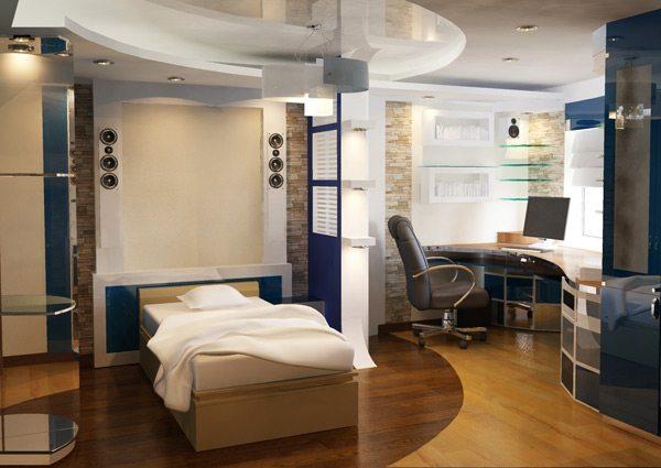Пример оформления спальни, совмещенной с кабинетом
