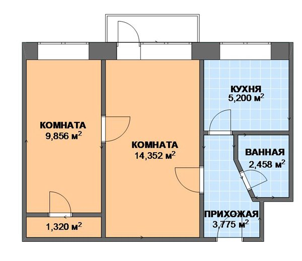 Пример планировки двухкомнатной квартиры