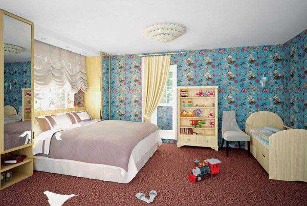 Пример планировки комнаты с детским уголком и родительской кроватью.