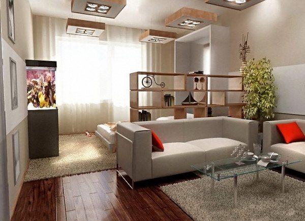 Пример расположения мебели и использования легких штор