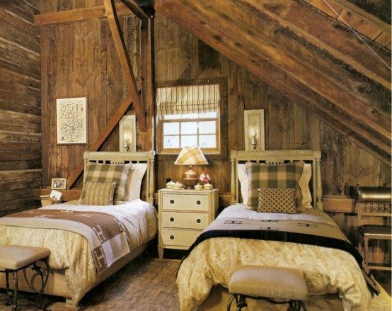Пример спальни в деревенском стиле