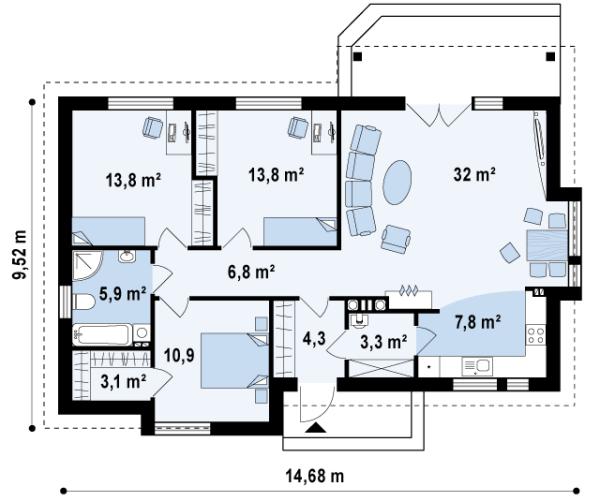Пример того, как можно распределить комнаты