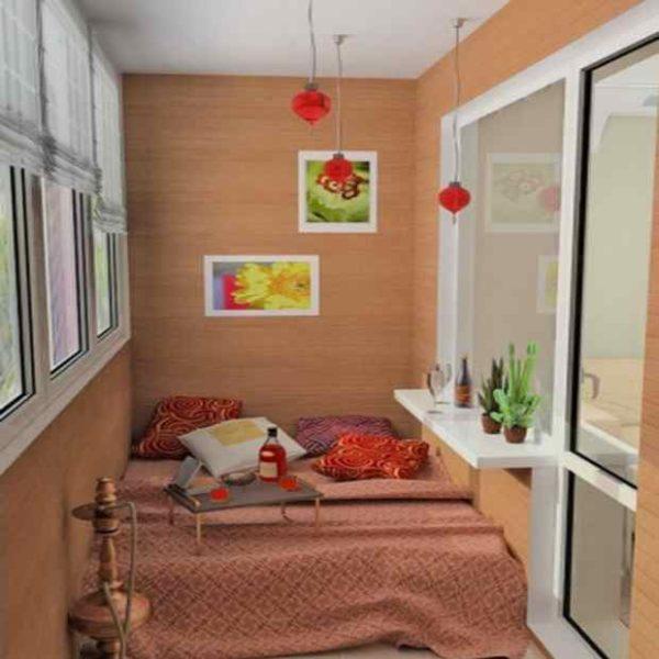 Проект восточной спальни на балконе