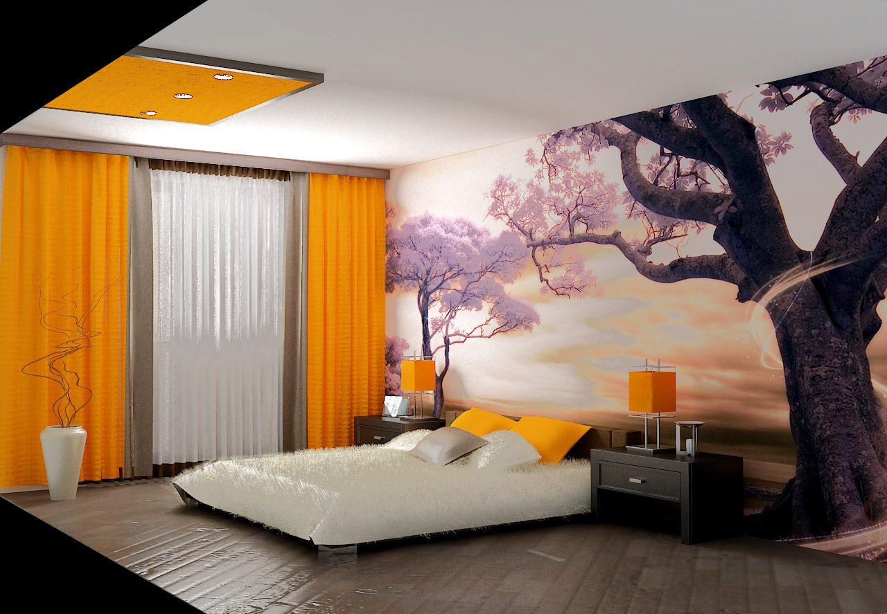 Просторная спальная комната, оформленная красивой палитрой с завораживающей игрой цветов