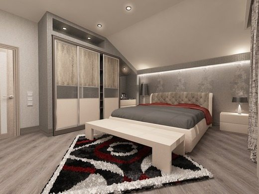 Рассеянная подсветка потолка по периметру подчеркивает необычную геометрию мансардной комнаты