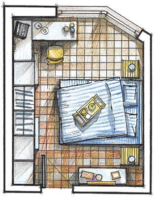 Расстановка мебели на плане спальни.