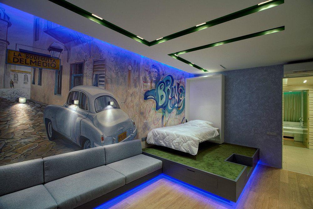 Растровые светильники и светодиодная подсветка в интерьере подростковой спальни