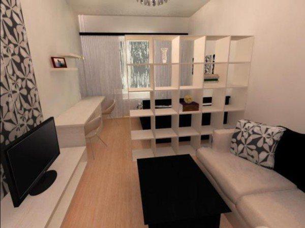 Разграничение комнаты стеллажами.