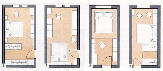 Различные варианты расстановки мебели в длинных узких спальнях.