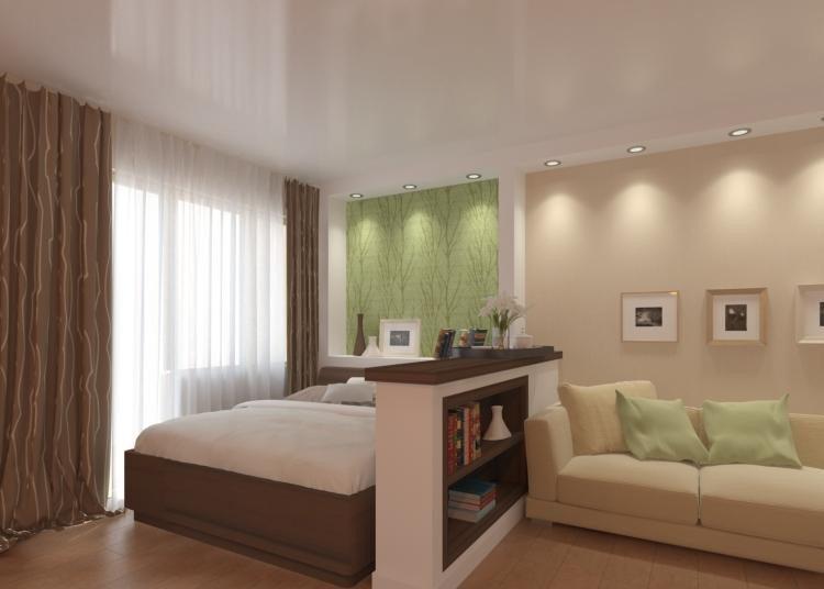 Разные обои эффективно, экономно и, не поглощая пространство, зонируют помещение.