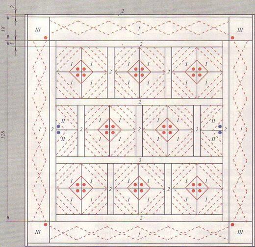 Схема лоскутного стеганого покрывала: 1 – основной цвет, 2 – контрастный тон.