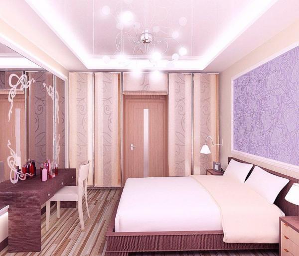 Шкаф-купе очень удобно расположить при входе в спальню, в торцевой стене с дверью.