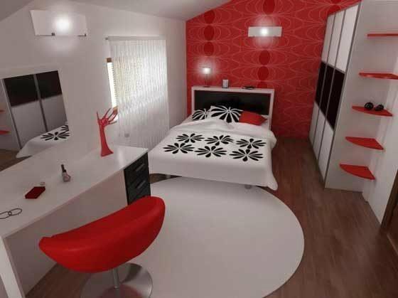Шторы для светлой спальни в классическом сочетании красного, белого и черного