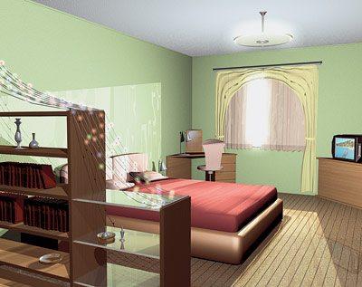 Сквозные стеллажи визуально отрежут спальную зону от рабочей