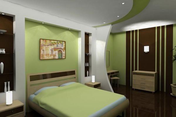 Совмещенная палитра потолка: белая и часть зеленая.
